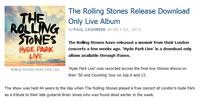 ローリングストーンズのライブ・アルバムが、iTunesのみでリリース!
